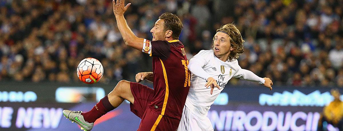 Francesco Totti im Duell mit der Roma gegen Real Madrid.