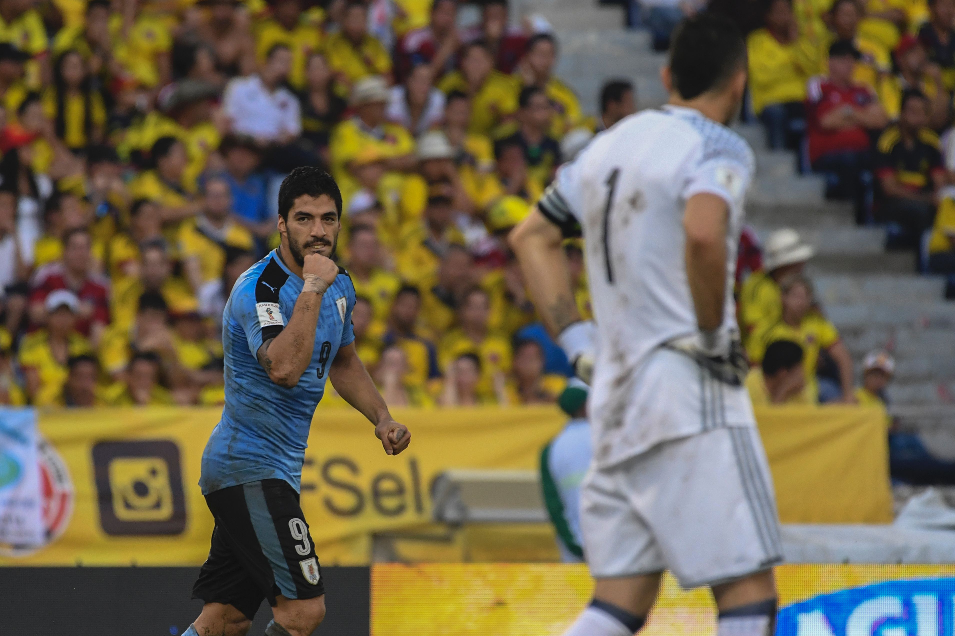 Uruguay's Luis Suarez celebrates after scoring against Colombia during their Russia 2018 World Cup football qualifier match in Barranquilla, Colombia, on October 11, 2016. / AFP / Luis Acosta (Photo credit should read LUIS ACOSTA/AFP/Getty Images)